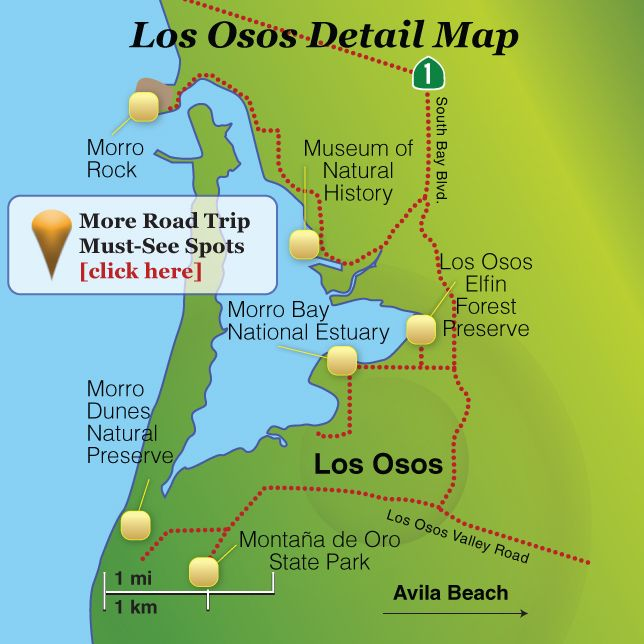 Highway One California Map.Los Osos Baywood Park Visitor Guide California Highway One San