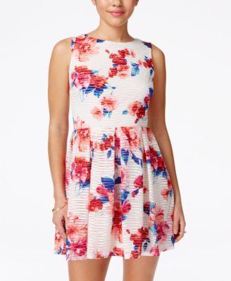 dbde60c579 B Darlin Juniors  Floral-Print Fit   Flare Dress