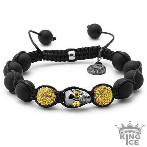 Black Plated Yellow CZ Skull Urban Disco Ball Bracelet King Ice. $39.99. Adjustable Size. Celebrity Style. 90 Day Warranty. Skull Bead Bracelet. Disco Ball Jewelry. Save 60%!