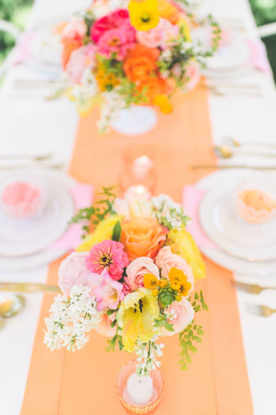 Photography: Paper Antler - paperantler.com Floral Design: Studio Fleurette - studiofleurette.com Wedding Venue: Seven Oaks Farm - www.sevenoaksfarm.info   Read More on SMP: http://www.stylemepretty.com/2014/08/11/bright-love-in-bloom-wedding-inspiration/