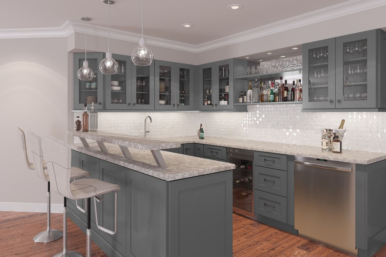 Graphite Grey Shaker Ready To Assemble Bar Room Cabinets Bar Room Cabinetry Va Shaker Style Kitchen Cabinets Kitchen Cabinet Styles Shaker Style Kitchens
