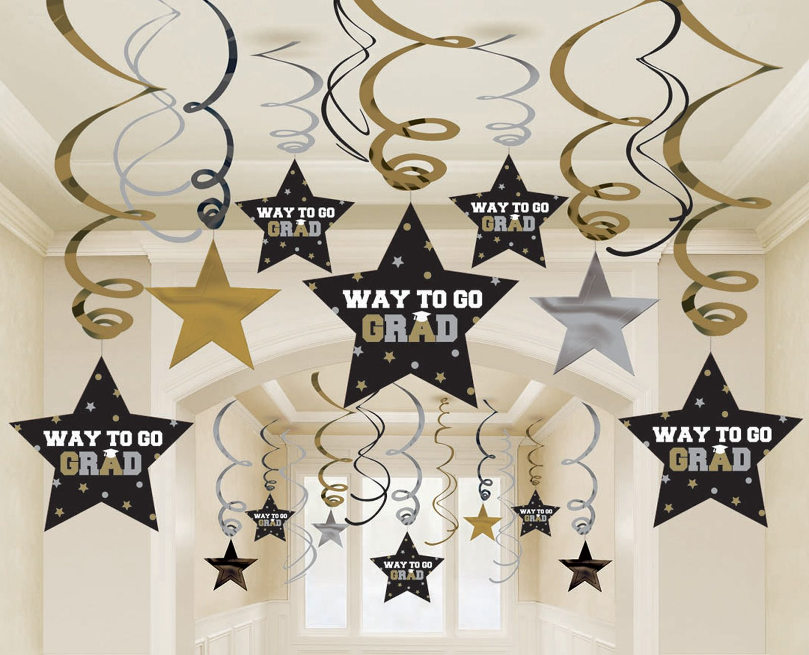 Home Graduation Star Swirl Decorations Black Silver Gold