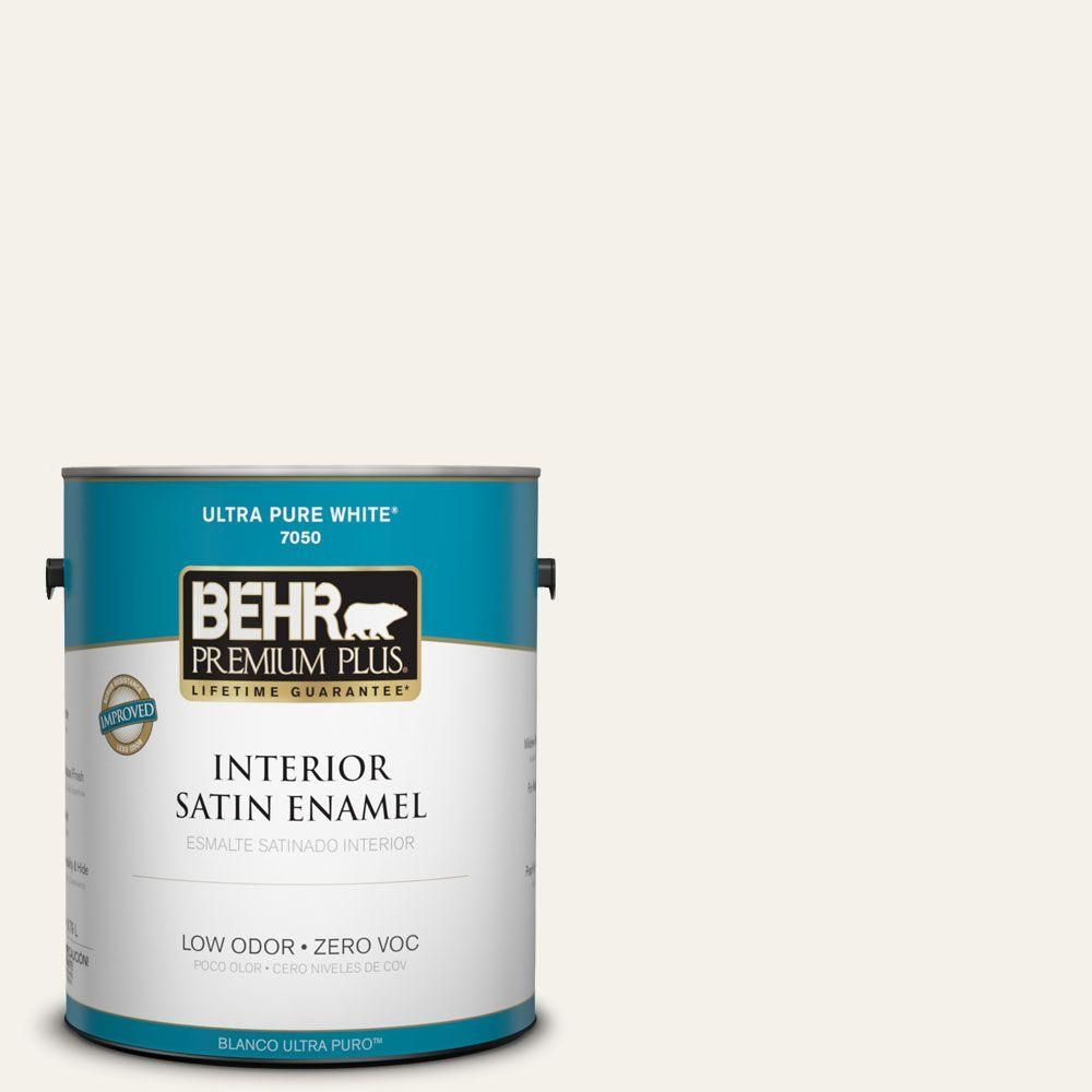 Behr Premium Plus 1 Gal Pwn 50 Snowy Egret Flat Low Odor Interior Paint And Primer In One 105001 The Home Depot Interior Paint Exterior Paint Behr