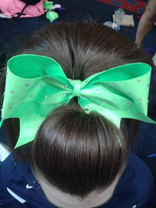 poof and teased pony cheer hair