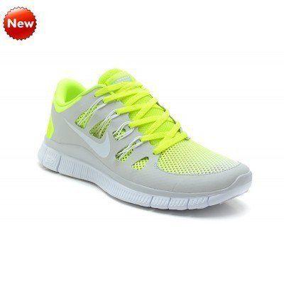 2015 Soldes Nike blanc gris clair Chaussures vertes, Nike Free 5.0  ,579959-011 (1N66rR) France Outlet en ligne