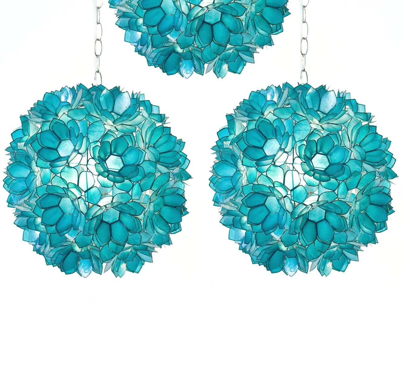 Turquoise capiz shell pendants inspiring hollywood - Capiz shell bathroom accessories ...