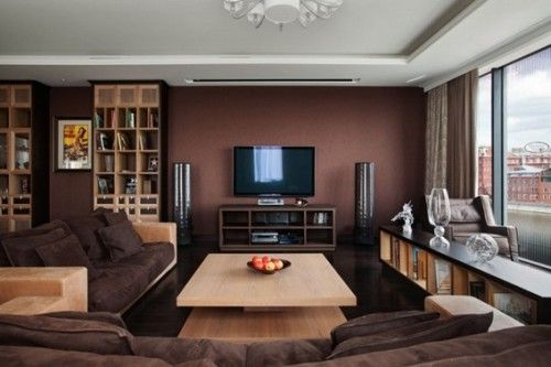 12 Salas Modernas Con Paredes Color Marron Sala De Estar Marron Apartamento Contemporaneo Casa Marron