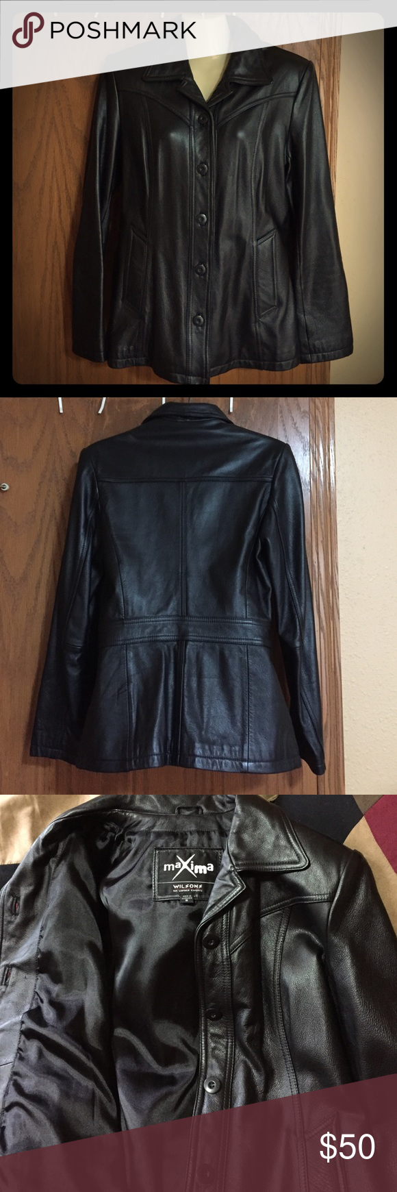 Womens leather coat Wilson's leather coat. Button up black leather coat in good shape. 100% leather outside, interior lining is poly satin and nylon. No rips. Small pinhole in last picture which is right below the collar. Wilsons Leather Jackets & Coats