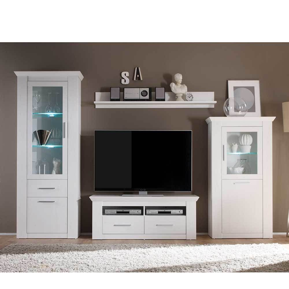 Wohnzimmer Anbauwand in Weiß skandinavischer Landhausstil (4 ...