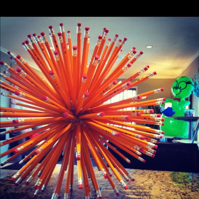 Back to School, Pencils in a Styrofoam ball.  Great decoration! #CAMEXShow #retaildetails
