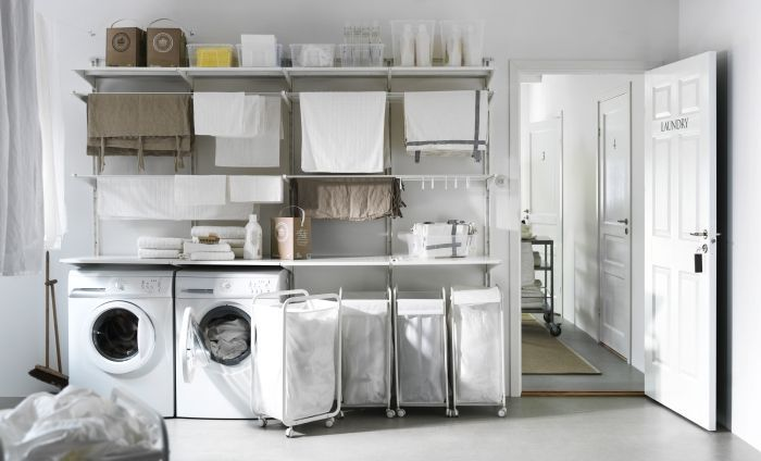 Wonderful White Wood Glass Unique Design Small Laundry Room Ideas