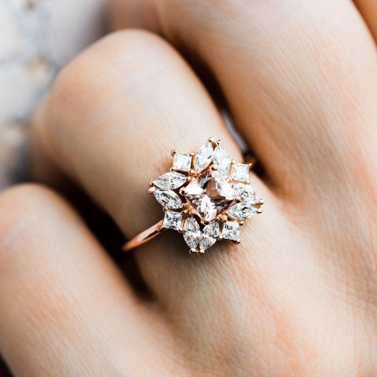 Jasmine Morganite Cluster Ring Custom Wedding Rings Classic