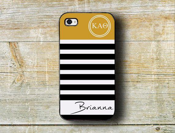 Kappa Alpha Theta sorority Iphone case iPhone 4/4s/5/5s/5c - Black and gold stripes - monogrammed Kappa Alpha Theta gift iPhone (1106)