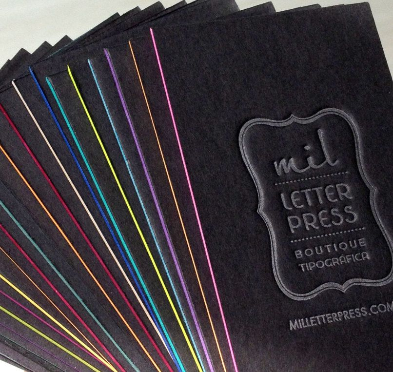 Letterpress Business Cards - Black Thick Board with Silver Ink - Color edges. $85.00, via Etsy.