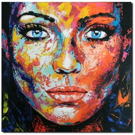 Frau Portrait Bunt Farbe Bild Leinwand Abstrakte Kunst Bilder