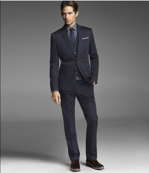 My suit. Dark Blue, grey vest, brown shoes. Baby blue shirt will ...