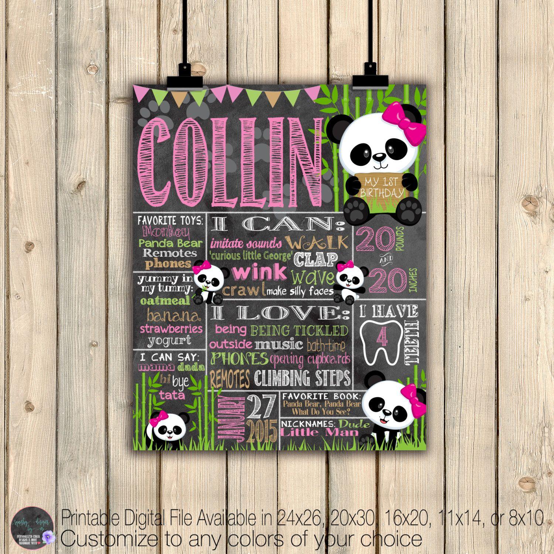 Digital Poster Panda Bear Birthday Stat Chalk board