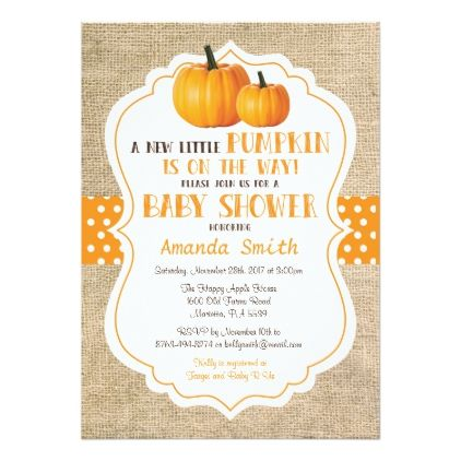 Perfect Fall Pumpkin Baby Shower Invitation Card Burlap | Pumpkin Baby Showers, Pumpkin  Baby And Shower Invitations