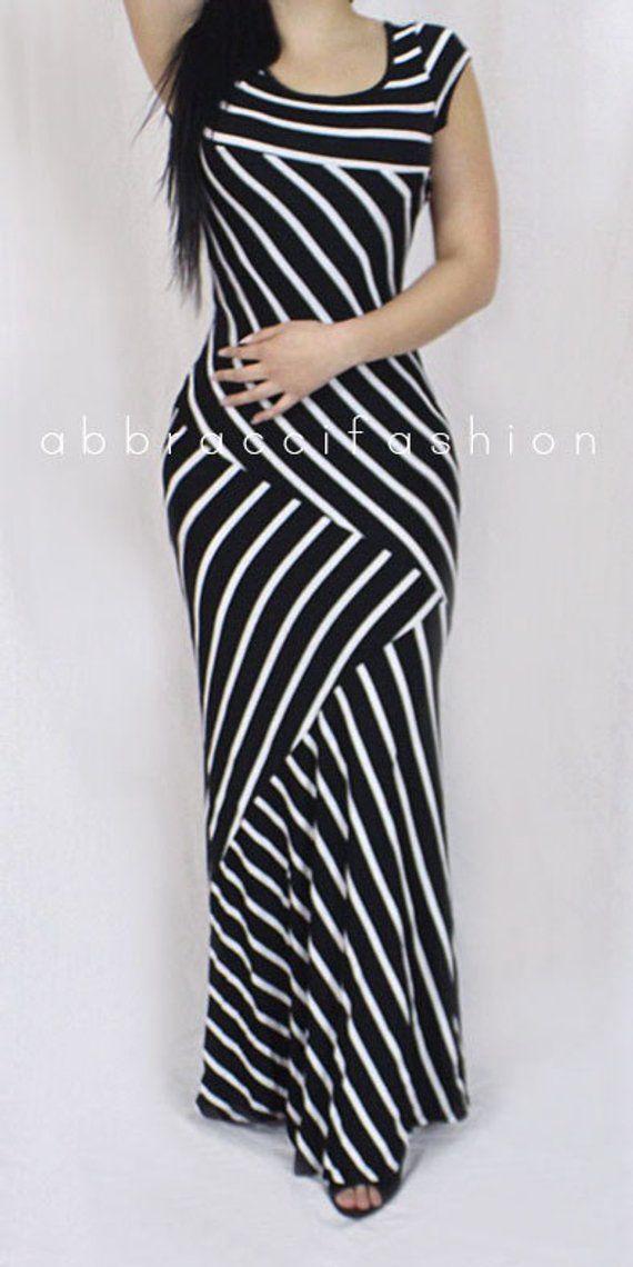 Womans Sexy Black Maxi Dress Stripes Asymmetrical Stripes Elegant Stretchy Short Sleeve #blackmaxidress