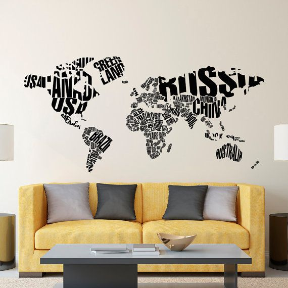 Wall decal world map letters world map wall decal large wall map wall decal world map letters world map wall decal large wall map with countries gumiabroncs Images