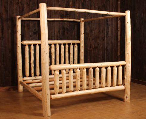 twin log bed frame logheads rustic log canopy bed