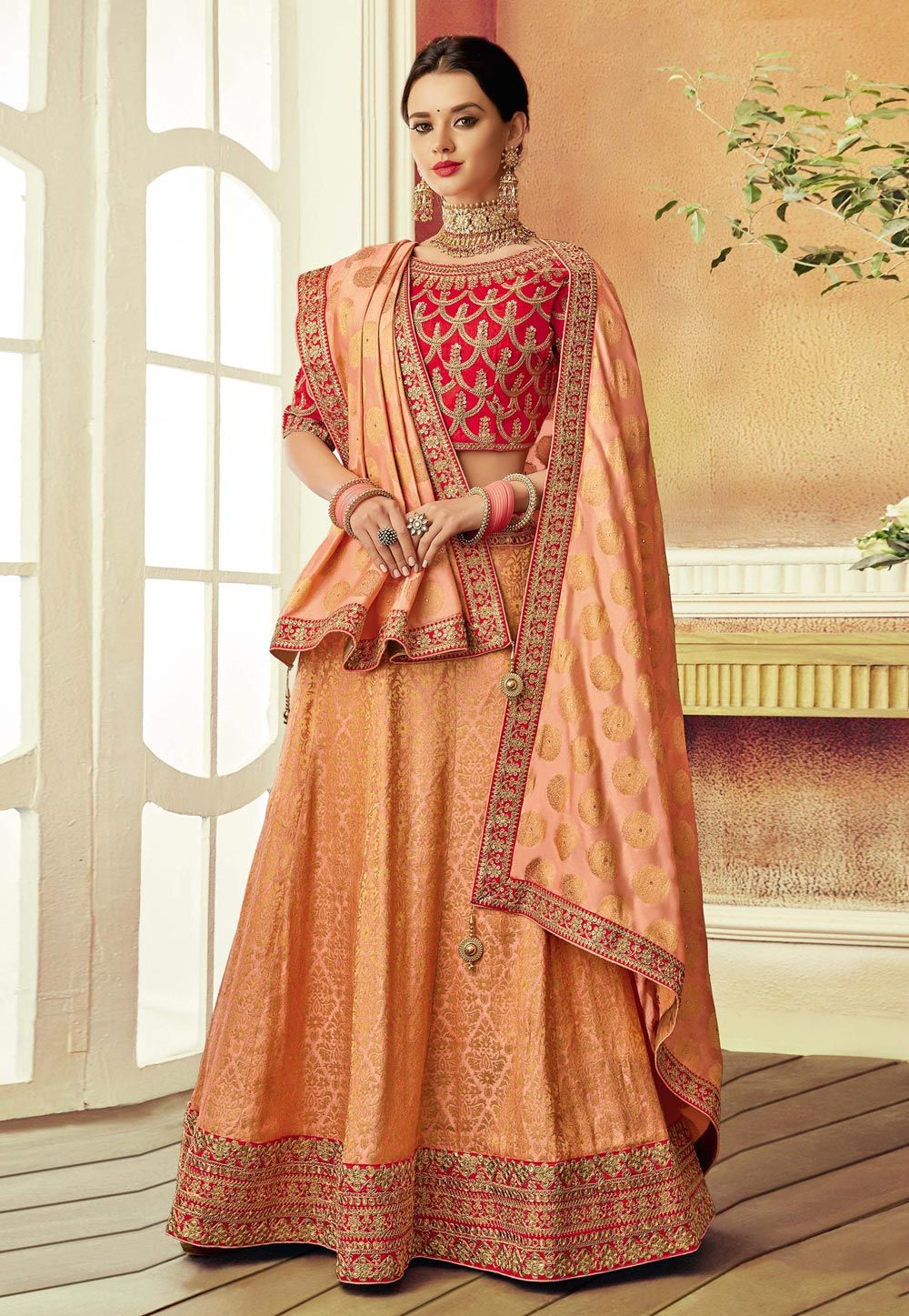 16992f8ac Buy Peach Brocade Embroidered Lehenga Choli 158651 online at best price  from vast collection of Lehenga Choli and Chaniya Choli at  Indianclothstore.com.