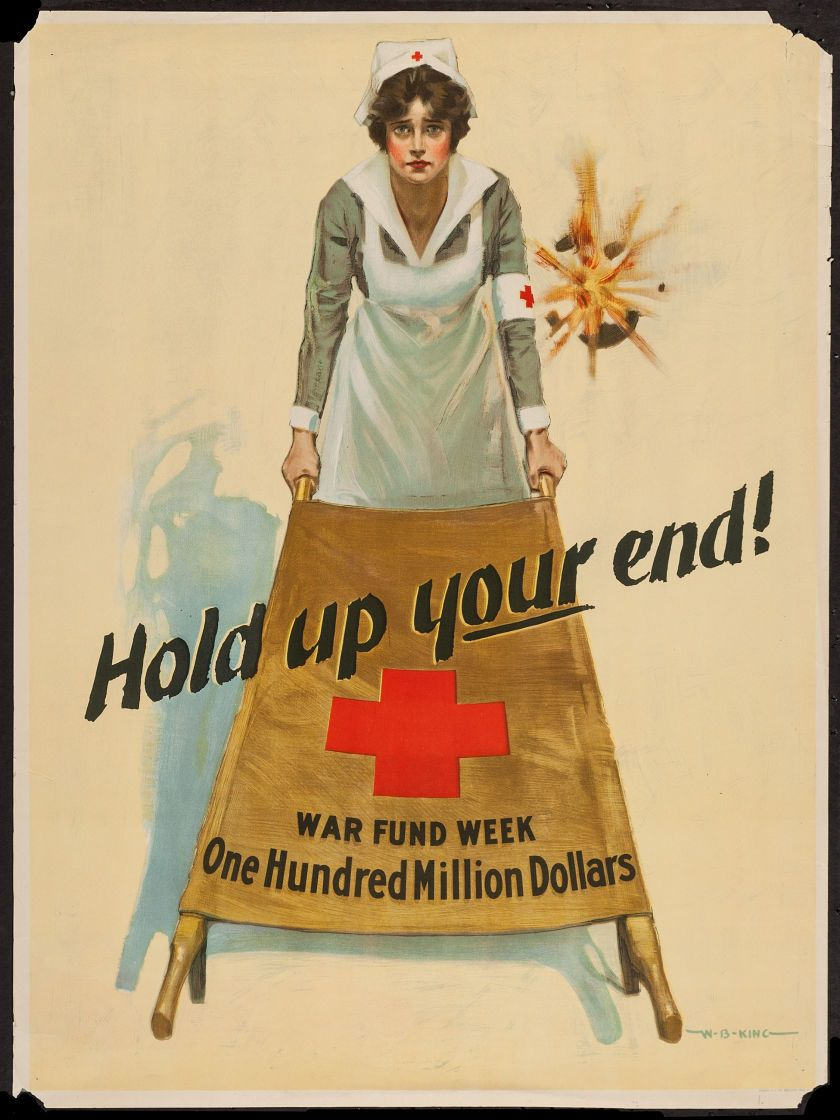 WWI US RED CROSS NURSE CALL FOR HELP PROPAGANDA POSTER REAL CANVASART PRINT