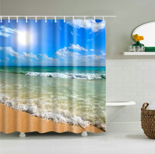 Sunny Beach Day Fabric Shower Curtain With Images Beach Shower