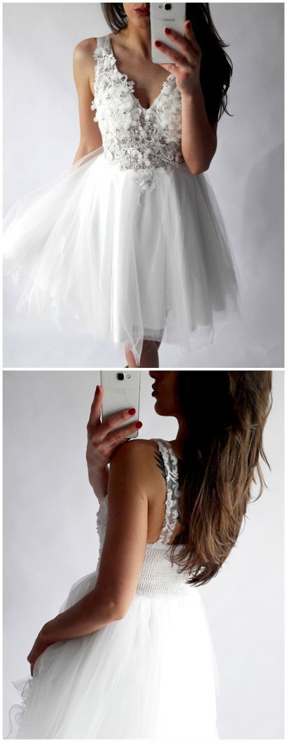 Aline vneck short white tulle lace homecoming dress with appliques