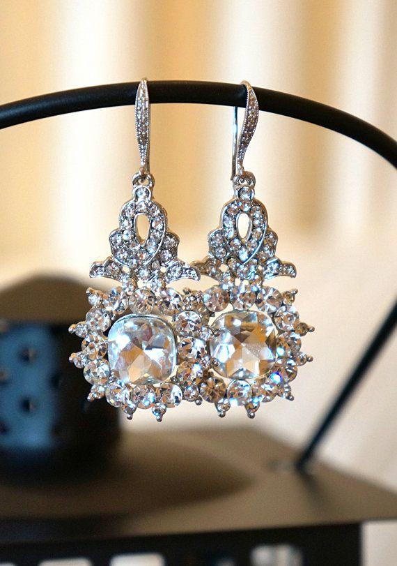 Fancied Swarvoski Crystal Drop Earrings Dangle by VintagePinch