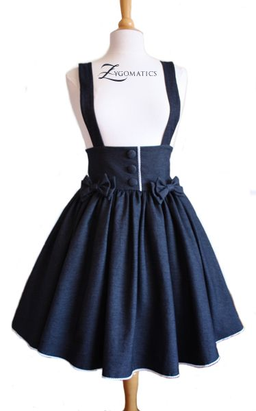 Lolita Denim High-Waisted Skirt | Overalls, Skirts and So cute