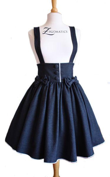 04493221c7bfa Lolita Denim High-Waisted Skirt casual lolita