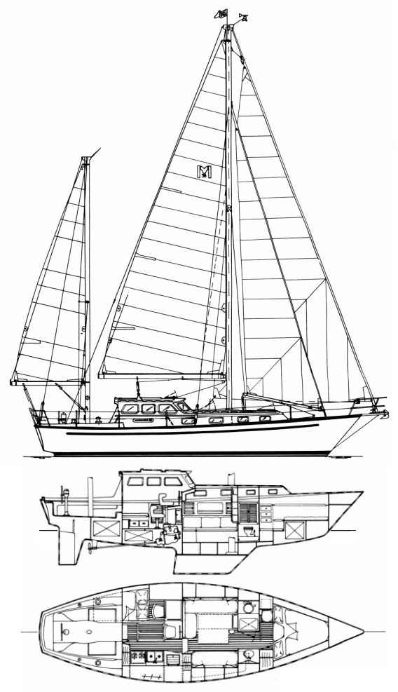 Mariner 38 (Pilot House) drawing on sailboatdata.com