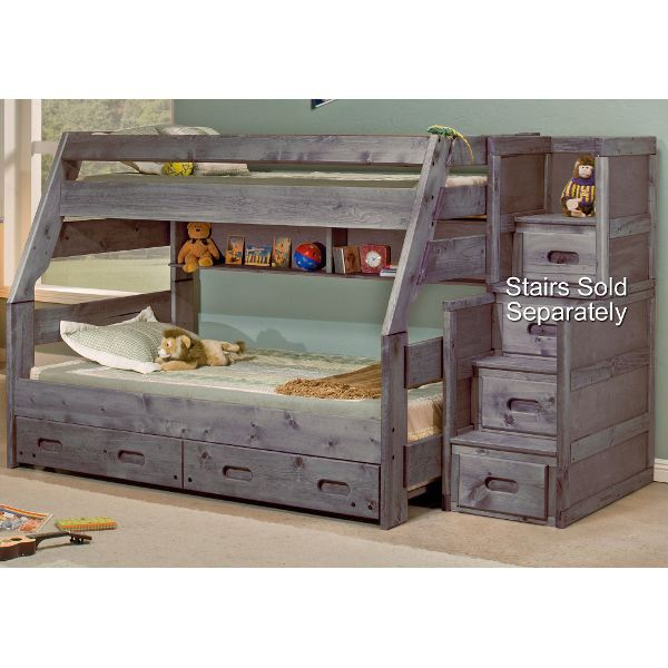 Rustic Driftwood Twin Over Full Bunk Bed Fort Kid S