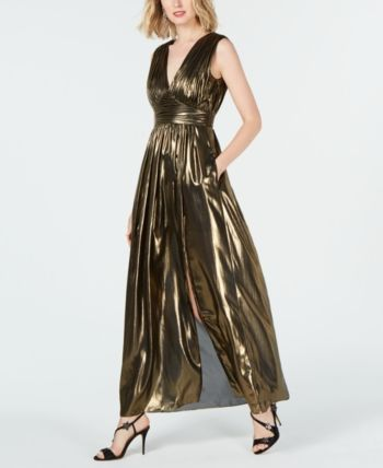 d0e509929d Rachel Zoe Nicole Pleated V-Neck Maxi Dress - Gold 10 | Products in ...