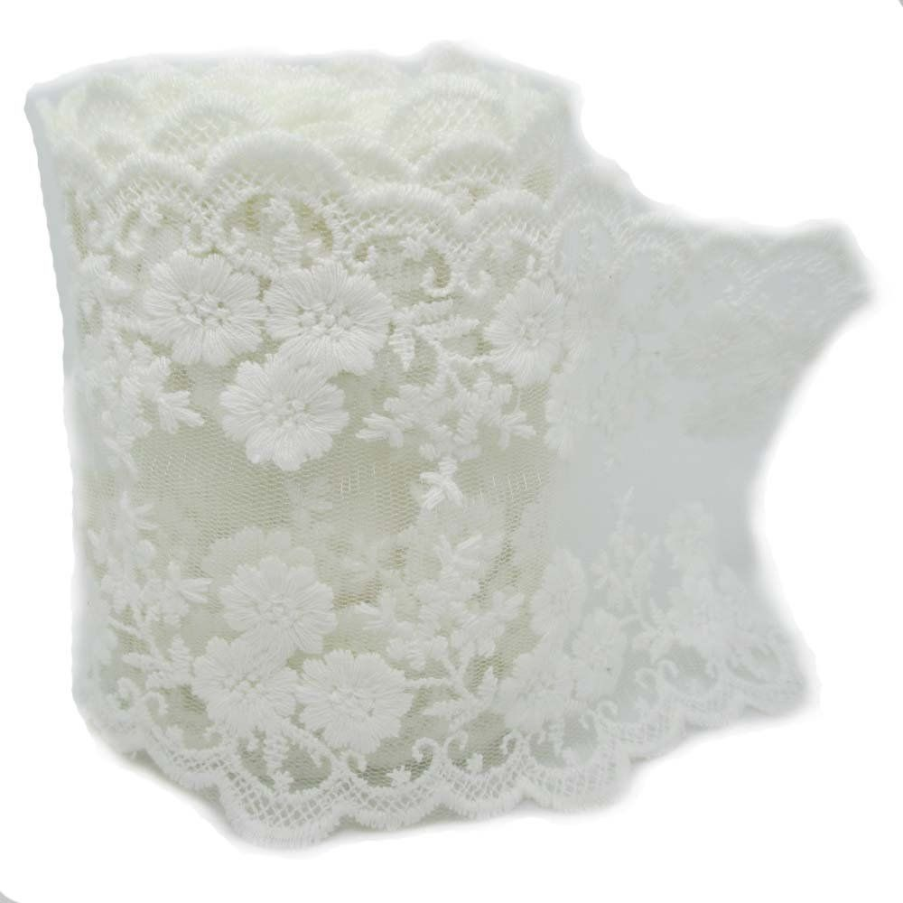 1 Wide x 25 Yards Ivory Floral Pattern Lace Ribbon for Decorating Floral Designing and Crafts