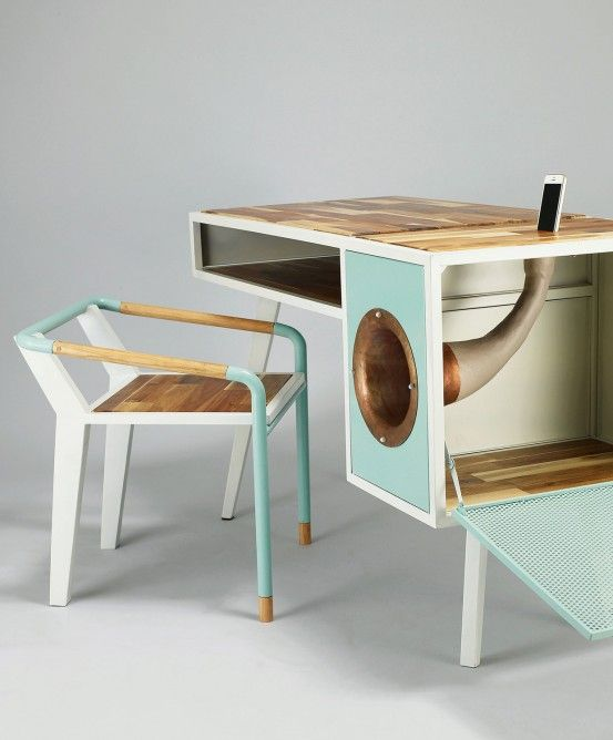 The Soundbox desk features a phonograph to amplify the audio from your phone, all without the need for power.