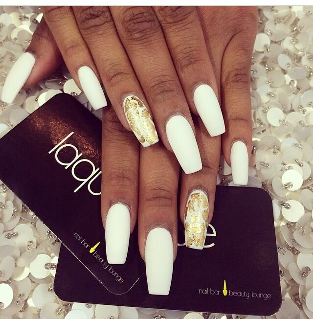 Matte White Coffin Shape Nails White Nails With Gold Gold Nails