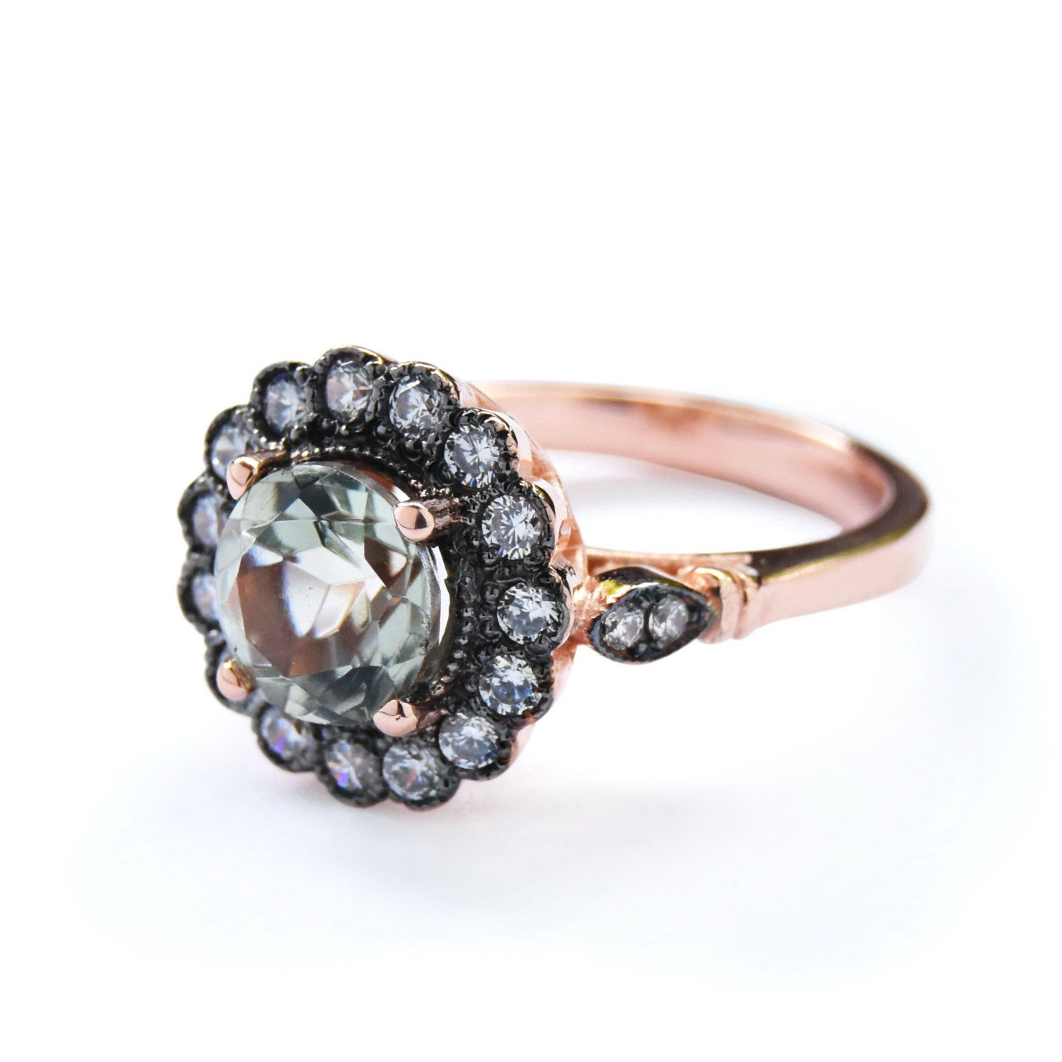 Flower Rose Gold ring Green Amethyst and clear zircons 14K Rose