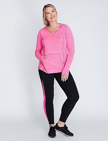 This LIVI Active lightweight hoodie lets you rock your fave cozy style year round. And this super-soft style packs wicking benefits, too: Supportive stretch and fade-resistant, moisture-wicking and quick-drying technology. Front pocket. Long sleeves with thumbholes. V-neck. lanebryant.com