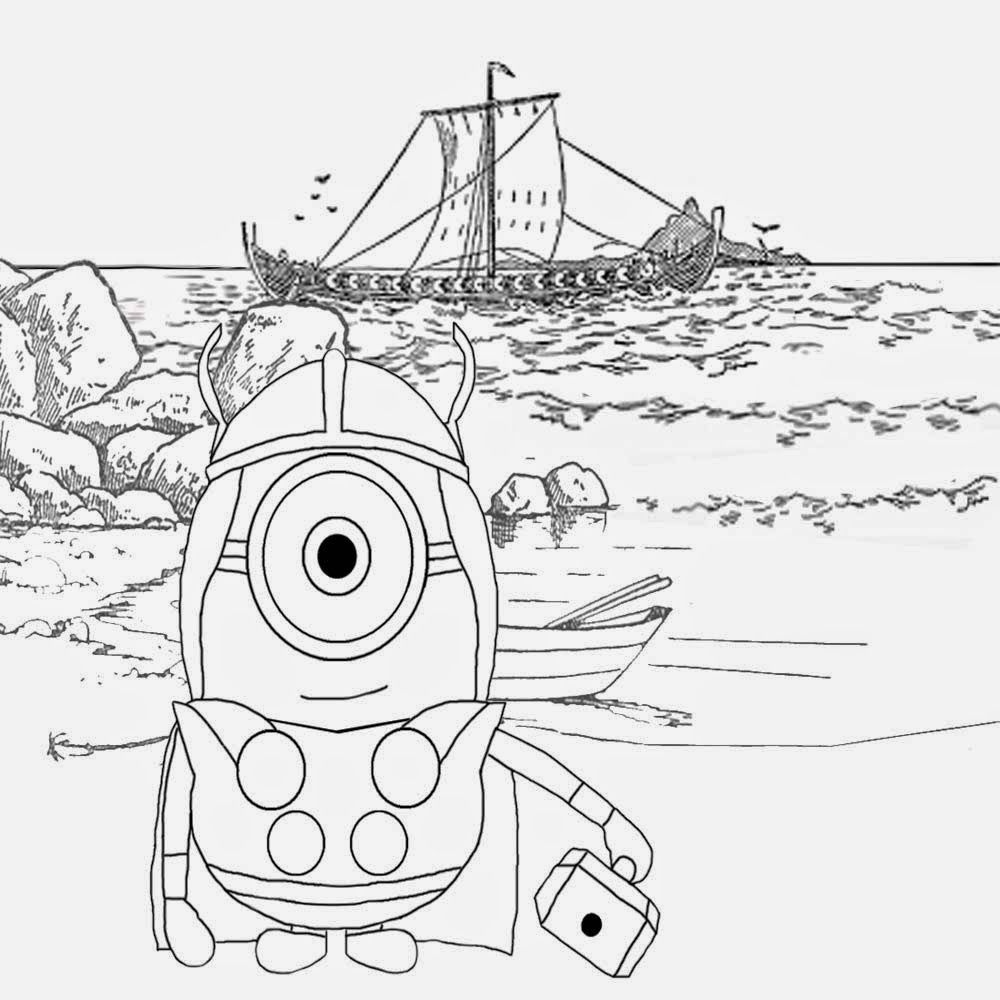 Happy minion coloring pages for free North Sea longboat Nordic ...