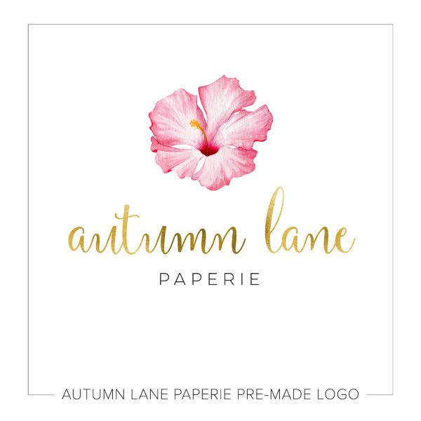 This Listing Is For A Customizable Pre Made Watercolor Hibiscus Logo Put Your Company S Name On It Today