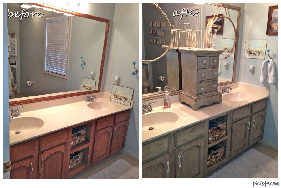 Bathroom Vanity Makeover With Annie Sloan Chalk Paint Painted Vanity Bathroom Bathroom Vanity Makeover Oak Bathroom Vanity