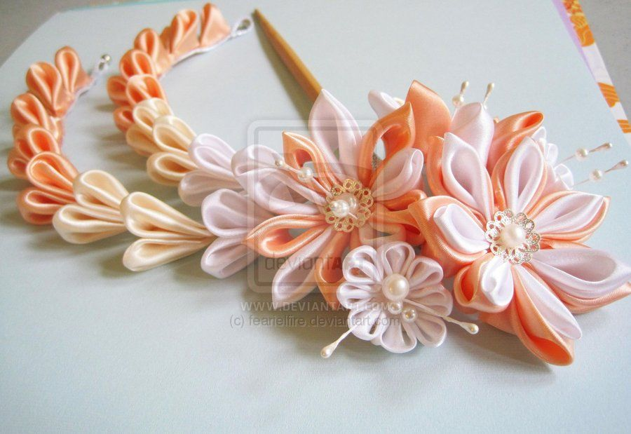 deviantART: More Like Sakura Hair Comb. Modeled tsumami kanzashi by ~hanatsukuri