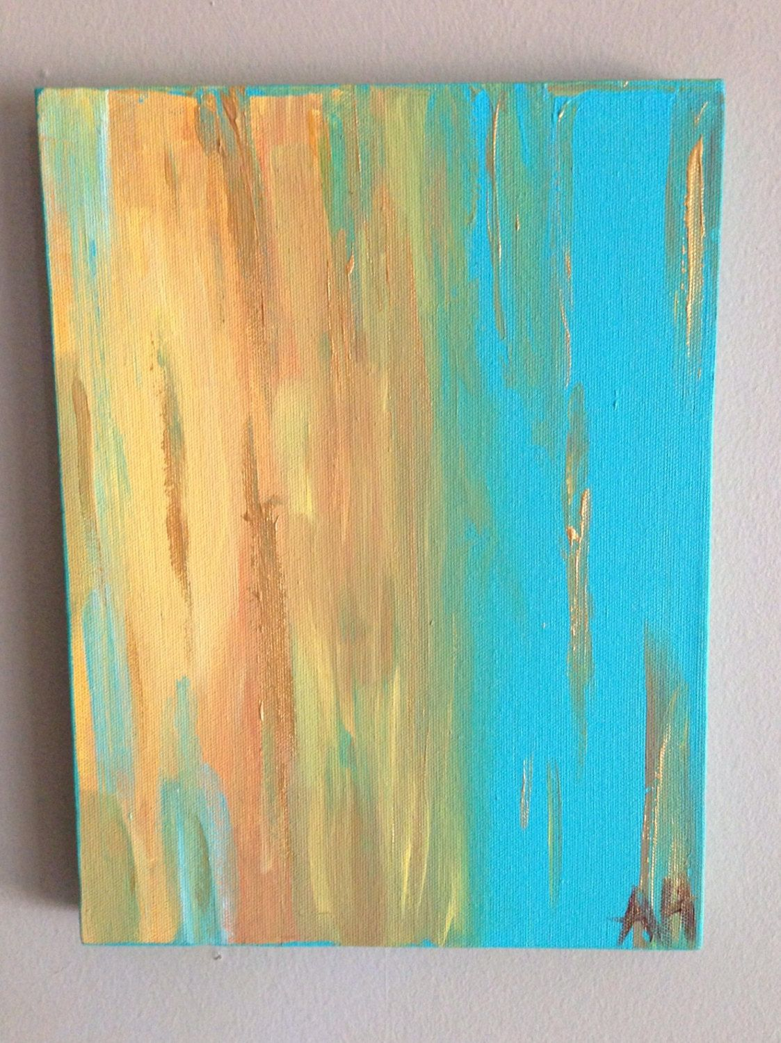 Abstract decorative painting with aqua and gold 9\