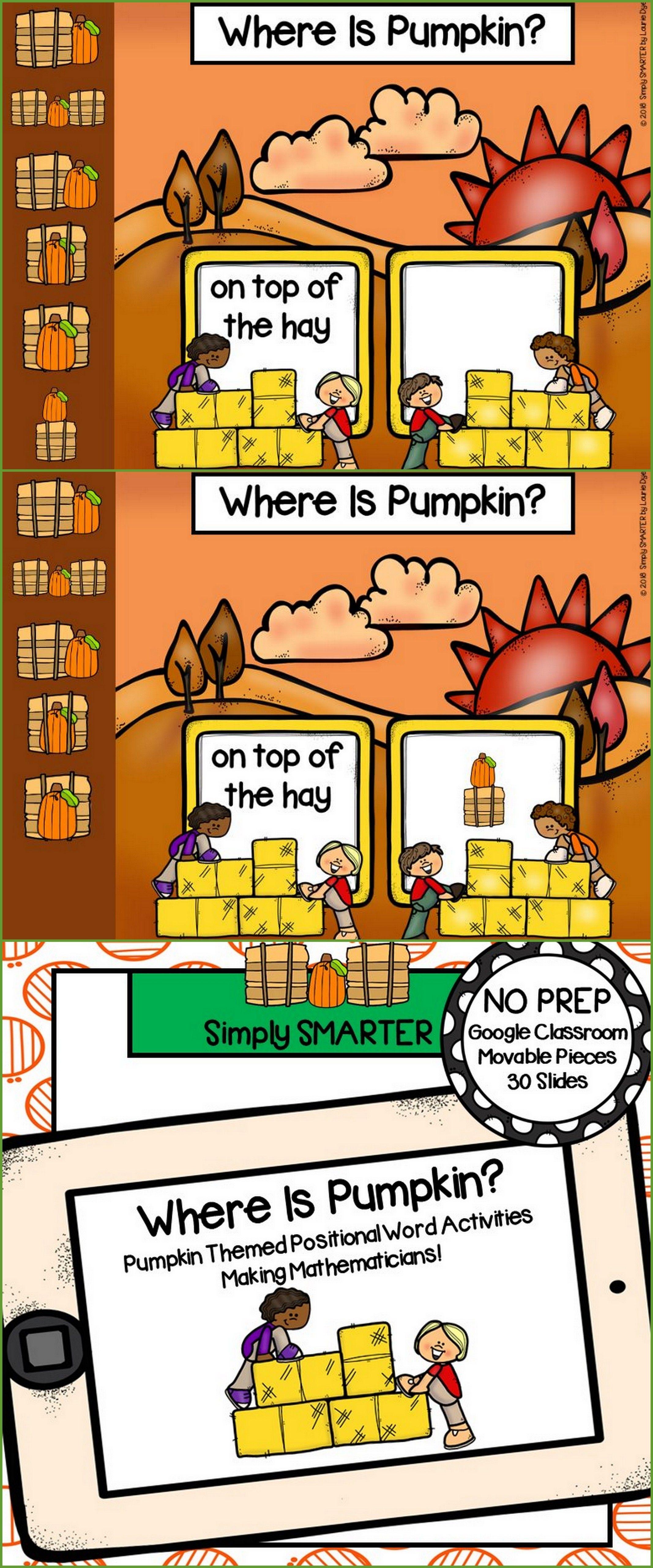 Pumpkin Themed Positional Word Activities For