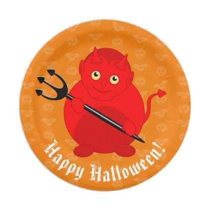 Cute fun cartoon of a Halloween red Devil Paper Plate - halloween - halloween decor images