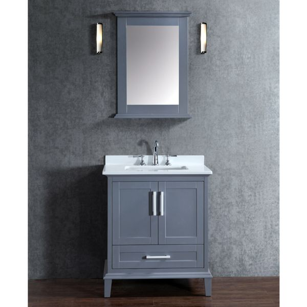 Nantucket 30 Inch Whale Grey Free Standing Single Sink Bathroom Vanity And  Mirror