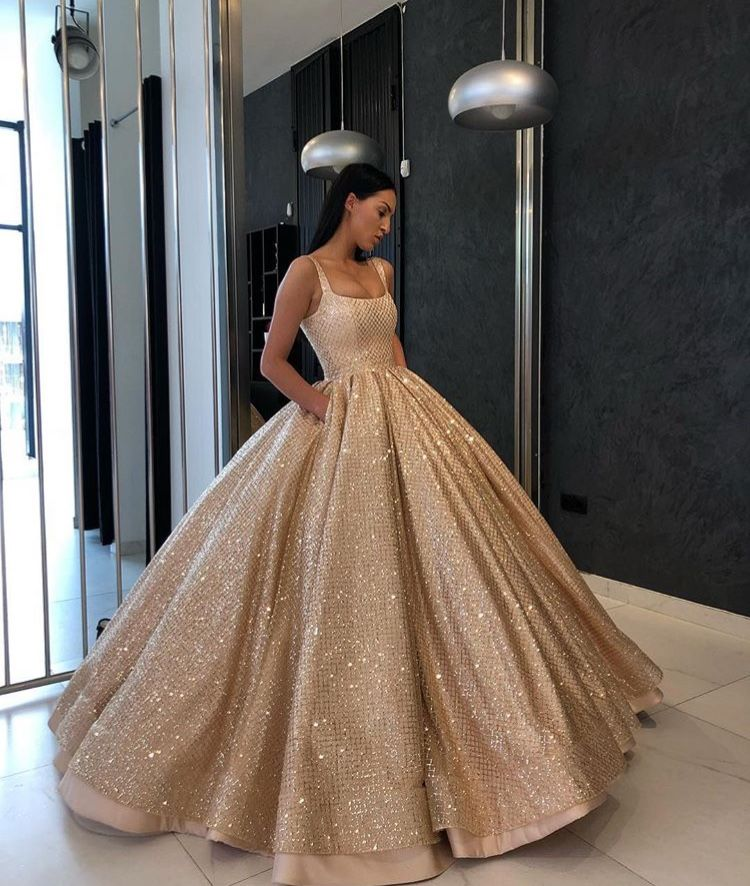 Beautiful Gold Wedding Dresses: Ball Gowns Prom, Prom Dresses With Pockets