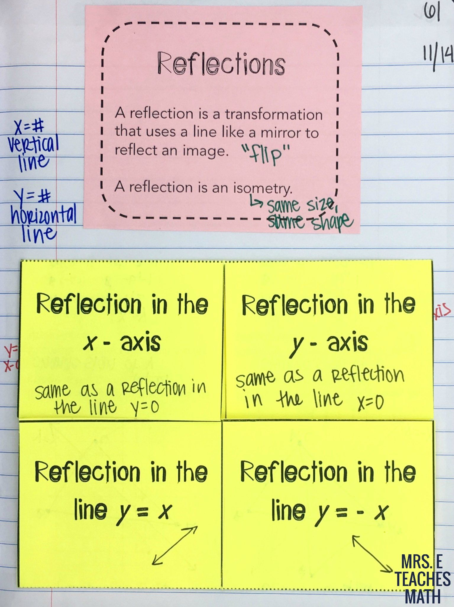 medium resolution of Reflections and Rotations INB Pages   Reflection math
